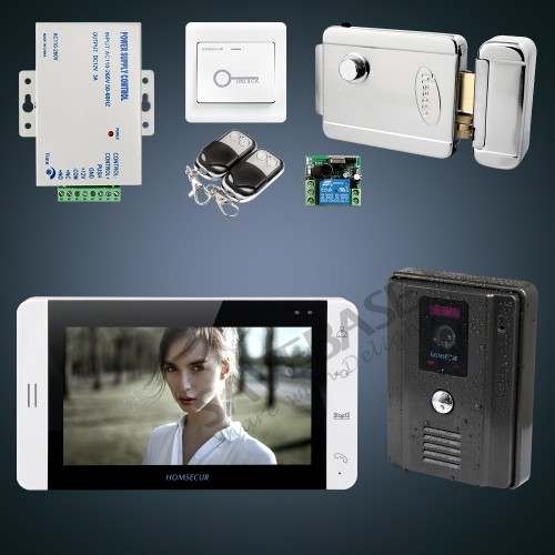 HOMSECUR 7 Wired Video Door Phone Intercom System+Monitor for Apartme:L3:TC011-B Camera(Black)+TM703-W Monitor(White)+Lock