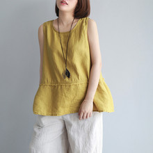 Johnature New Sleeveless Tanks O-Neck Solid Color Patchwork 2018 Summer Women Casual Pullover Loose 4 Colors Linen Tanks