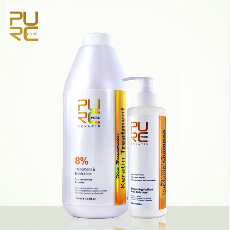 PURC Hot Sale straightening hair 1000ml 8 keratin treatment and 300ml purifying shampoo hair care and