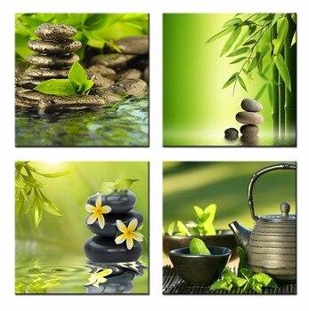 Зеленый бамбук Zen Камень домашний декор холст настенная живопись Ванная комната картина зеленый бамбук Zen Камень Настенная картина