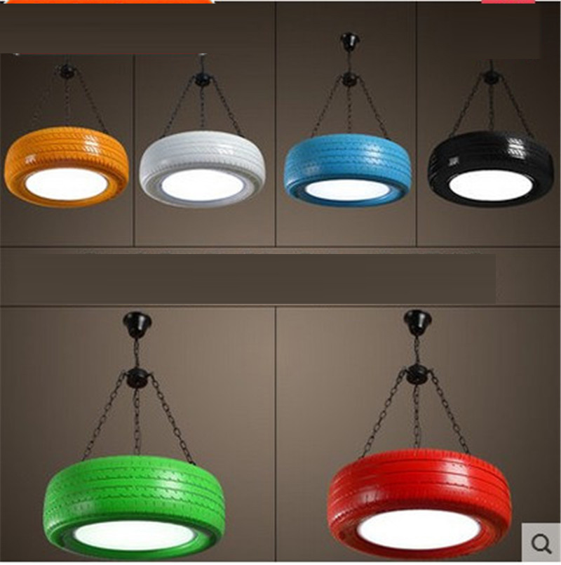 Caliente color retro colgante de neumático luces loft restaurante cafe bar estudio creativo personalizada colgante para el salón lámparas - 2