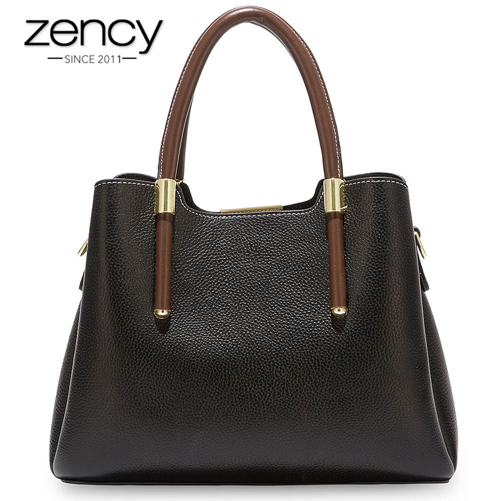Zency More Pretty Colors Handbag 100 Real Cow Leather Casual Tote Fashion Lady Crossbody Messenger Purse
