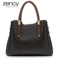Zency More Pretty Colors Handbag 100% Real Cow Leather Casual Tote Fashion Lady Crossbody Messenger Purse Business Bag Brown