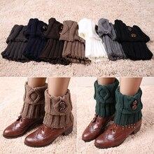 Hot Women Winter Short Leg Warmers Fashion Button Crochet Knit Boot Socks Toppers Cuffs Retail/Wholesale 5AY2 7FOX