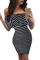 Czarny Piątek nowych kobiet Falbany slash szyi sukienka Lato style off ramię sukienka vestidos Białe rurki beach dress dla party
