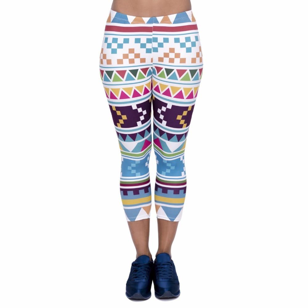 Fashion Women Capri Leggings Aztec Morski Printing Sexy Mid-Calf 3/4 Fitness High Waist Leggins Capri Pants