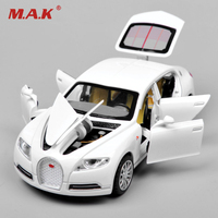 White Alloy Diecast Car Model 1 32 Bugatti Veyron 16C Galibier W Light Sound Cars