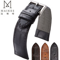 MAIKES Good Quality Watchbands Genuine Leather Band Watch Strap 18 19 20 22mm Brown Accessories Watches