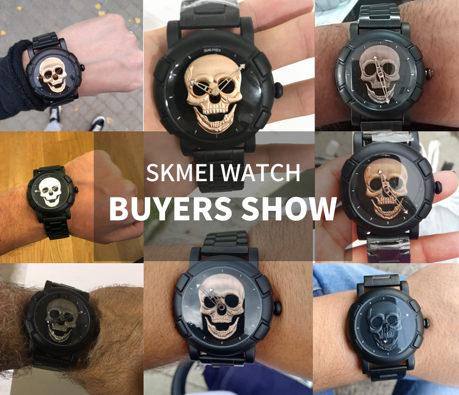 56890a33448 SKMEI 2018 Skull Quartz Men s Watch Men Creativity Watches Stainless ...