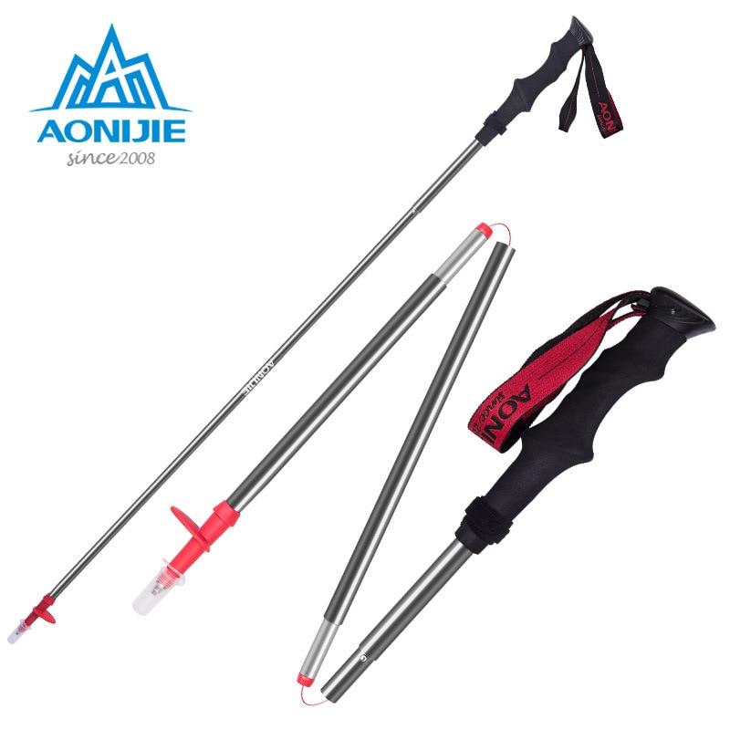 Aonijie Folding Alpenstock 3 Sections Aluminium Alloy Running Stick Cane Travel Camping Hiking Z Style Walking Sticks ultralight aluminium alloy camping mats