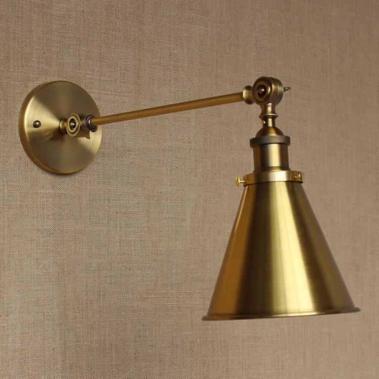 ФОТО LOFT Nordic Vintage Wall Lamp Classic gold Art Sconce Decorative Light Adjustable arandela LED Swing 2 Arm Wall Lights reading
