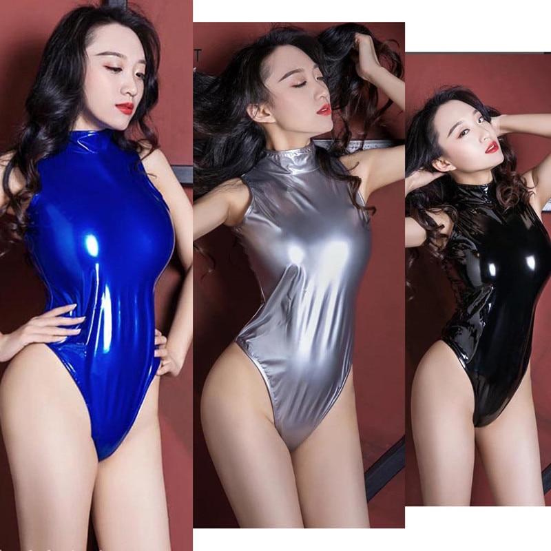 Women Candy Color Patent Leather Turtleneck Bodysuit High Elastic Back Long Zipper Playsuit Wetlook PVC One Piece Bodysuit