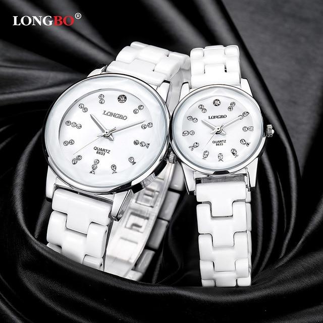 2018NewLONGBO Brand Lovers Famale White Ceramics Watches Casual Men Women Quartz Watch Luxury Couple Wristwatch Fashion Gift8633