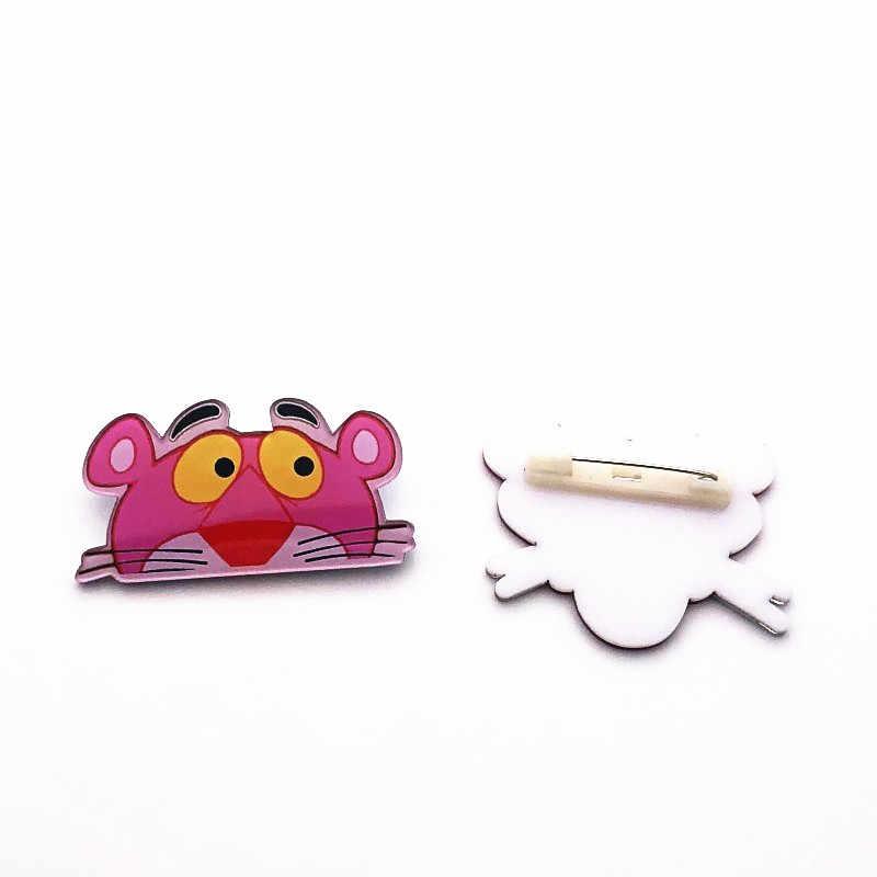 1 Pcs Lucu Pink Panther Harajuku Pin Bros Plastik Lencana untuk Wanita Pakaian Ikon Di Ransel Acrylic Lencana Anak-anak hadiah