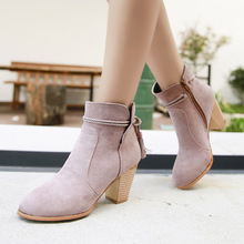 Classic Retro Women Boots Ankle Martin High-heel Shoes Woman Autumn Winter Fashion Fringe Short Large Size 35-41