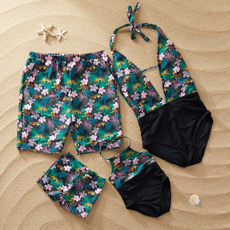 Delicious Family Matching Summer Bikini Bohemian Tropical Leaves Floral Printed Swimsuit Mom Dad Girls Boys Shorts Ruffles Patchwork Beach Online Discount Mother & Kids Tankinis Set