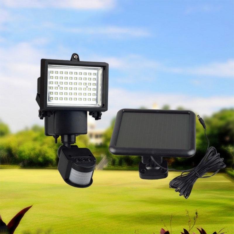 Outdoor Solar Led Reflector Lights Garden 60led Pir Motion Sensor Floodlights Spotlights Post