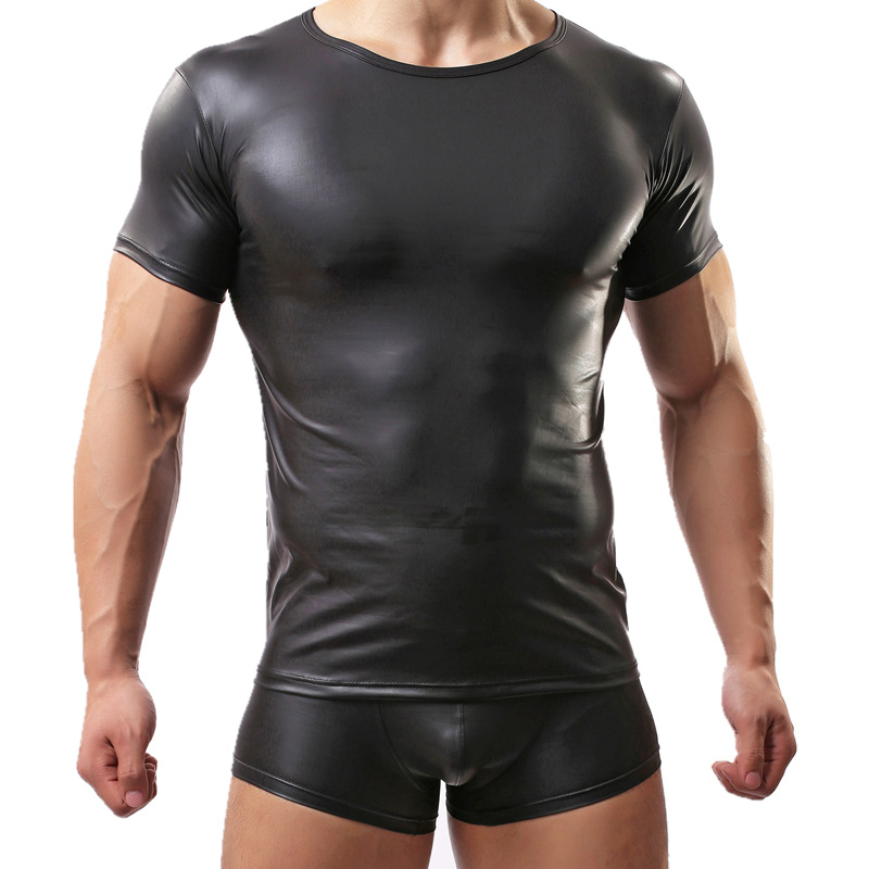 Sexy Cool Men's T-shirt Imitation Leather Man T Shirts Fashion Men Undershirt Brand Underwear Set Stage Costumes Dropshipping