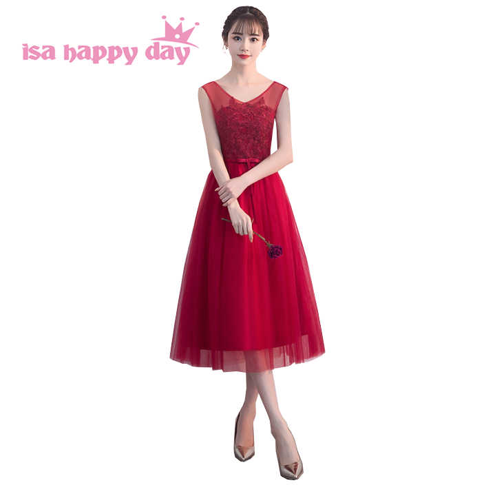 469cfe20ec new arrival 2019 elegant short wine deep red colored dresses for teens  dress ball gown with sheer neckline for sweet 16 H4245