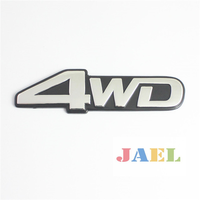 Auto 3d chrome silvery 4wd logo untuk toyota emblem decal sticker badge