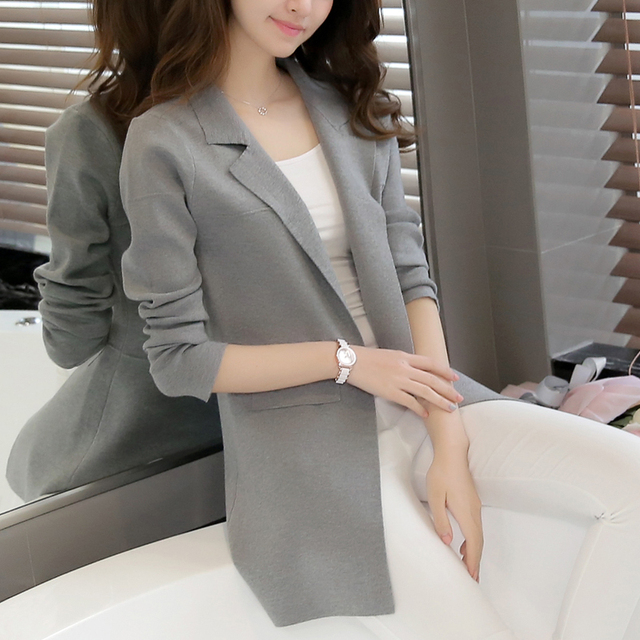 Hitz Korean Women In Long Sweater Cardigan Sweater Coat Collar Suit