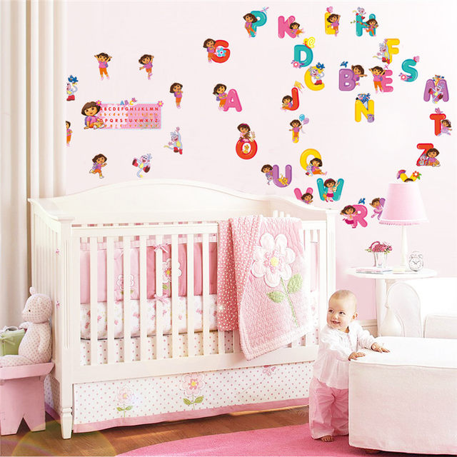 Cartoon Dora Bedroom Decor Alphabet Wall Stickers For Kids Rooms Nursery  English Letter Wall Decals Poster Mural