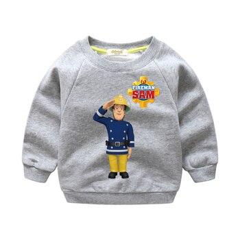 2018 New Year Children Cartoon Fireman Sam Printing Shirts Boy Girls Tops Clothes Kids 100%Cotton Sweater For Kids Costume WY005
