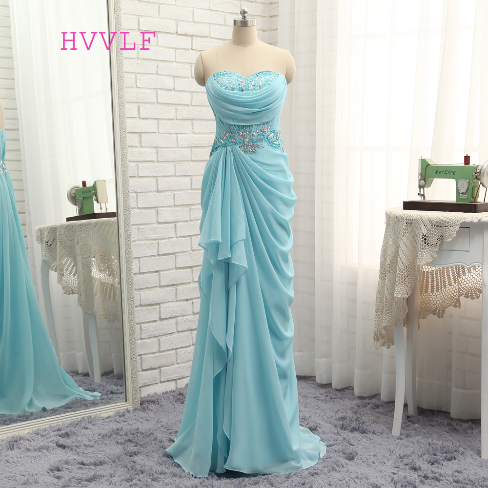 New Sexy 2019   Prom     Dresses   Mermaid Sweetheart Turquoise Chiffon Crystals Bead Slit   Prom   Gown Evening   Dresses   Evening Gown