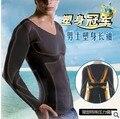 Corrector de postura de la camiseta tee underwear abdomen tummy cintura faja faja mágica compresión muscular hombres traje camisa delgada