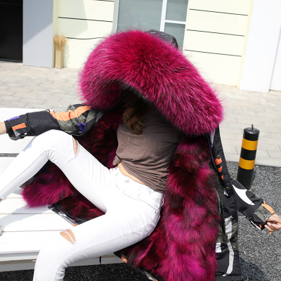 Jacket Women Winter Parkas Long Big Fox Fur Collar Hooded Coats 2018 Ladies Fur Linen Thickened Warm Jackets Plus Size Coat LZ962 (11)