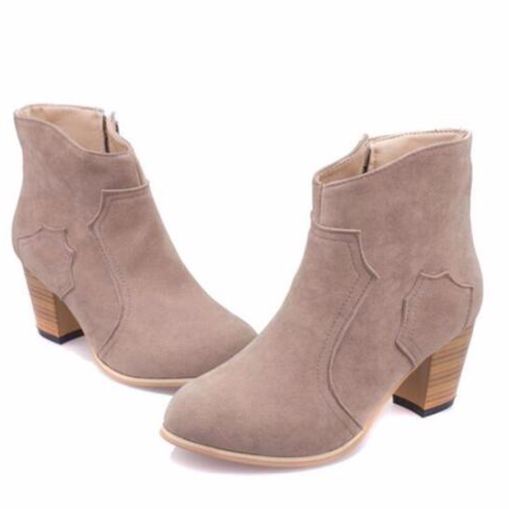 Hot Fashion Boots Women Basic Solid Combat Martin Western Ankle Boots Med  Heel Side Zipper Autumn Women Shoes WBS109-in Ankle Boots from Shoes on ... 6138b8412578