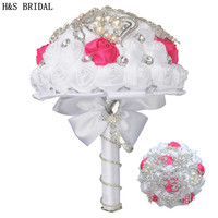 H&S BRIDAL White Crystal Satin Wedding Bouquet Bridesmaid bouquet de mariage wedding flowers bridal bouquets 2019