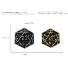 Twenty-Sided Die Pin Dungeons and Dragons Brooches Game Badges D20 table-top Lapel pins Gaming gifts Accessories