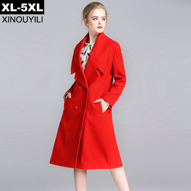 a785ddad3b017 Top Design Red Color Thick Wool Coat 2018 Winter Women s Wide-waisted  Fashion Long Coats 5XL Plus Size Outerwear With Pockets