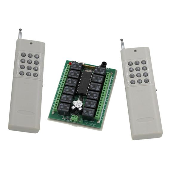 DC12V 24V 12CH 12CH Radio Controller RF Wireless Remote Control Switch System,315/433 Mhz, 2 X Transmitters + Receiver dc24v 12ch rf wireless remote control switch system receiver