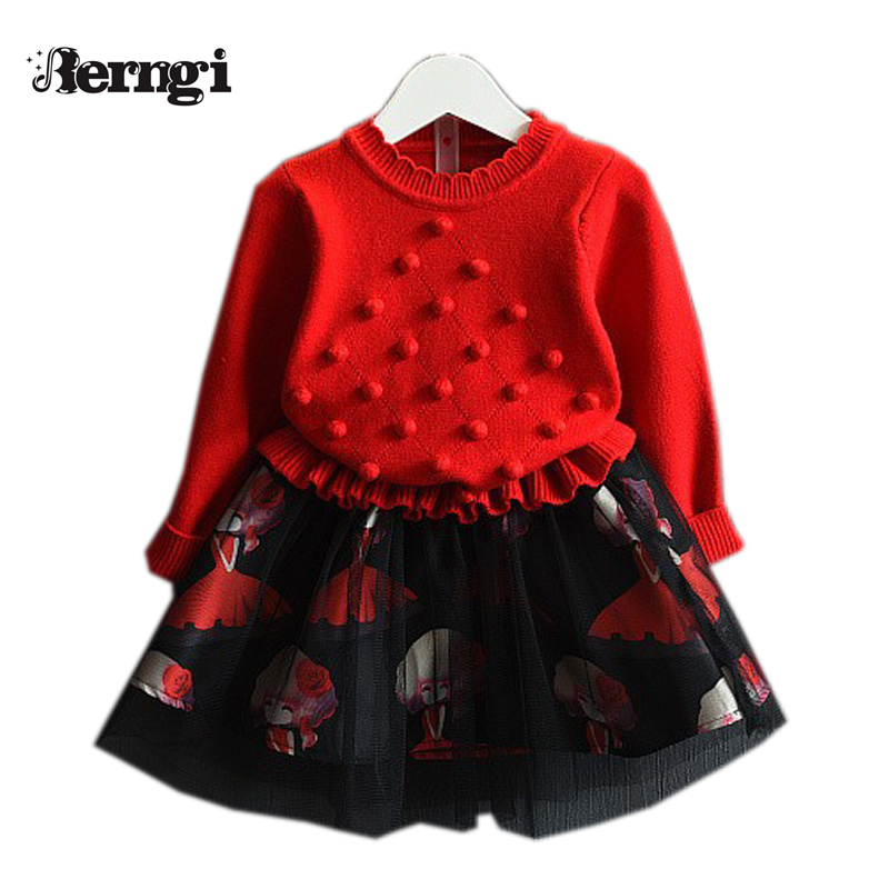 Berngi Grils Dress 2017 New Pullover Knitted Sweaters Red&Purple Dress Long Sleeve Outerwears O-neck Kids Knitwear 3-7Y