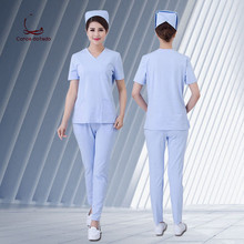 Womens short-sleeve split suit doctors pure cotton surgical operating room isolation hand-washing