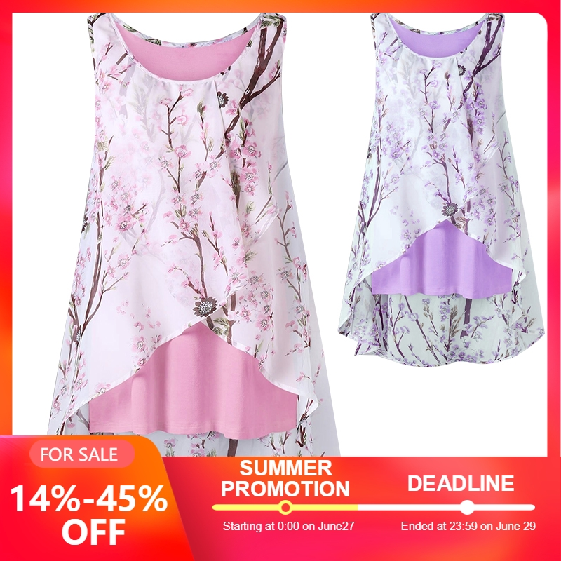Women's Fashion Plus Size Tiny Floral Overlap Casual Sleeveless T shirts   Tank     Top   S-5XL