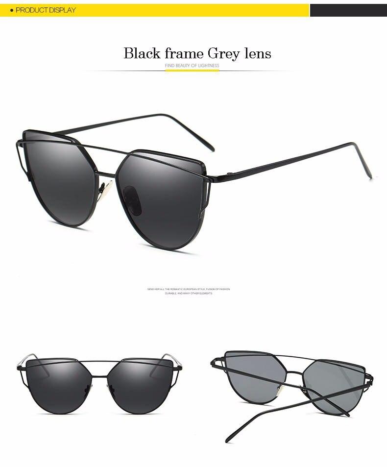 2017 Brand Retro Cat Eye Sunglasses Women Vintage Fashion Rose Gold Mirror Eye Glasses Unique Flat Ladies Eyewear Oculos UV400 20