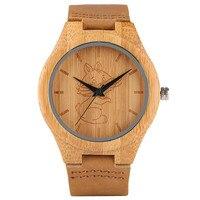 Neue Ankunft Hand-made Männer Holz Bambus Quarzuhren Katze/Hund/Kran Design Lederarmband Mode holz Uhr Geschenk Weibliche