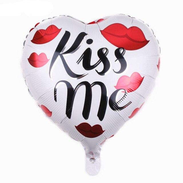 TSZWJ C 016 Aluminum Balloons Heart Shaped Balloon Toys For Children Kiss Me Happy