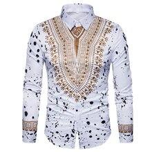162eaf47e0 Camisa Impressão Homens 2017 Tradicional Africano Dashiki 3D Homens Camisa  Manga Comprida Casual Slim Fit Mens Camisas de Vestid.