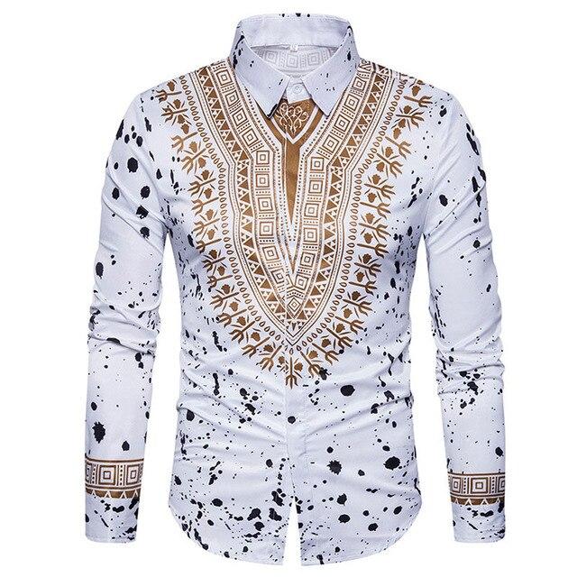 3d print shirt men 2017 traditional african dashiki men for Dress shirt vs casual shirt