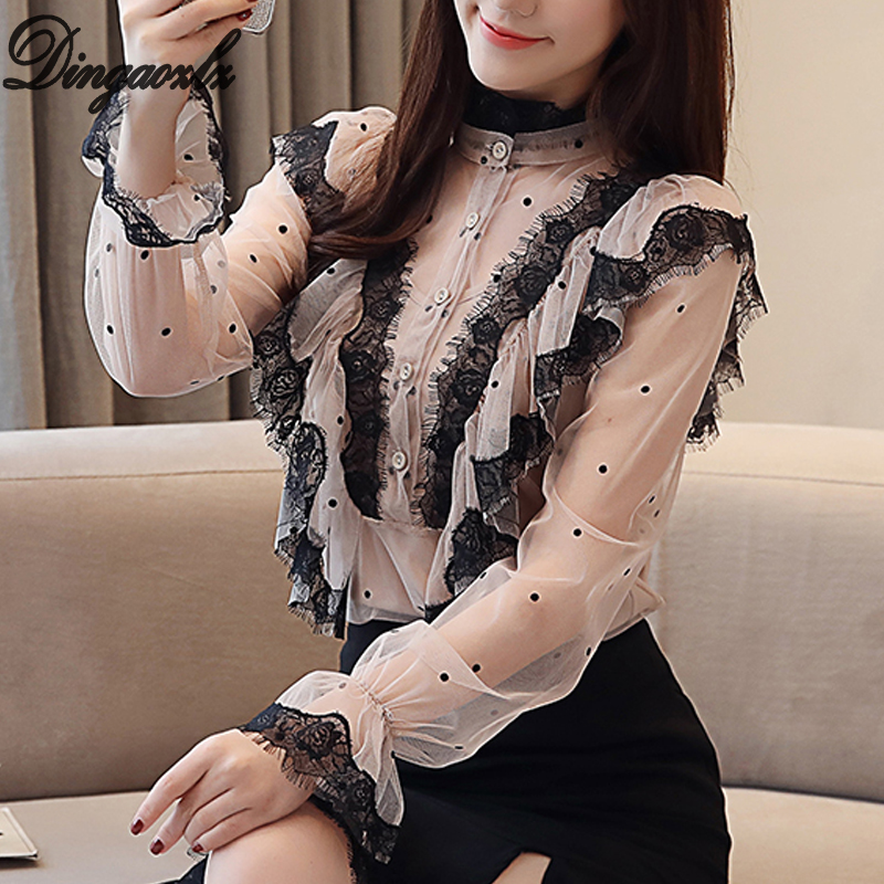 Dingaozlz Spring 2019 New Korean Perspective Lace   Blouse     Shirt   Women Long Sleeve   Shirt   Two-piece Lotus Leaf Top