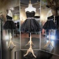 Vestidos De Coctel Black Lace Cocktail Dresses 2017 Applique Beads Short Party Dress Above Knee Mini