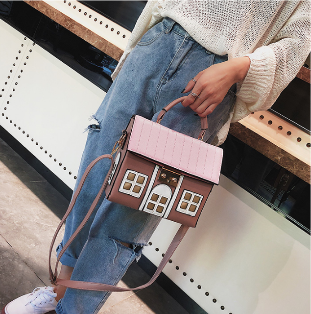 Image 4 - Funny Cute Cartoon House Design Pu Leather Handbag Women's Personality Handbag Ladies Shoulder Crossbody Messenger Bag  New-in Top-Handle Bags from Luggage & Bags