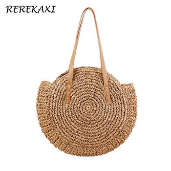 REREKAXI Hand-woven Round Woman's Shoulder Bag Handbag Bohemian Summer Straw Beach Bag Travel Shopping Female Tote Wicker Bags - DISCOUNT ITEM  59% OFF All Category