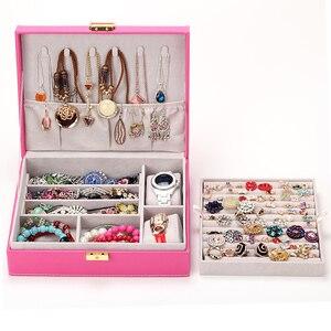 Image 3 - 新ファッションスタイルのレザージュエリー収納ボックス woode 収納ボックス、ネックレスリングなど化粧オーガナイザー、 boite をビジュー