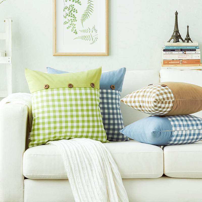 Blue/coffee Plaid Polyester Coconut Button Throw Pillows For Sofa Yarn Dyed  Washable Sofa Cushion/chair Cushion With Filling-in Cushion From Home &  Garden