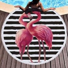 купить Flamingo Flowers Print 150cm Round Beach Towel With Tassels Microfiber For Adults Kids Bath Shower Towels Sports Yoga Mat Cover по цене 878.41 рублей